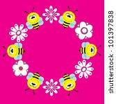 cute card with fun bee. vector... | Shutterstock .eps vector #101397838