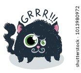 cute monster kitten with text.... | Shutterstock .eps vector #1013980972