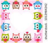 frame with cute owls and hearts   Shutterstock .eps vector #1013984242