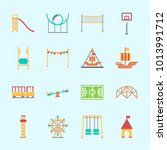 icons about amusement park with ... | Shutterstock .eps vector #1013991712
