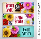 spring sale and hello spring... | Shutterstock .eps vector #1013992642