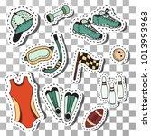 doodle sport fitness stickers... | Shutterstock .eps vector #1013993968