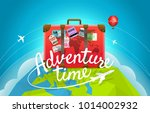 travel bag with stickers and... | Shutterstock .eps vector #1014002932