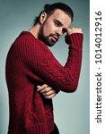 portrait of handsome fashion... | Shutterstock . vector #1014012916