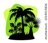 card with tropical palm trees.... | Shutterstock .eps vector #1014015826