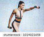 sporty latin girl in... | Shutterstock . vector #1014021658