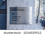 Small photo of LONDON- JANUARY, 2018: Department for Work & Pensions building, Caxton House, Westminster. UK Government Office exterior entrance sign.