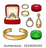set jewelry. wedding ring with... | Shutterstock .eps vector #1014034102