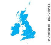 blue map of united kingdom | Shutterstock .eps vector #1014040456