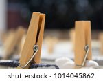 wooden clothespins with clothes | Shutterstock . vector #1014045862