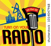 radio station tower broadcast... | Shutterstock .eps vector #1014047968