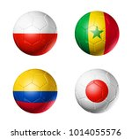 3d soccer balls with group h... | Shutterstock . vector #1014055576