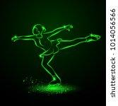 figure skating neon... | Shutterstock .eps vector #1014056566
