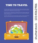 time to travel poster with open ... | Shutterstock .eps vector #1014062986