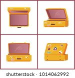 set of retro suitcases top side ... | Shutterstock .eps vector #1014062992