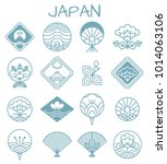 japanese icons with unusual... | Shutterstock .eps vector #1014063106