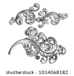 Vintage Baroque Victorian frame border tattoo floral ornament leaf scroll engraved retro flower pattern decorative design tattoo black and white filigree calligraphic vector heraldic swirl set