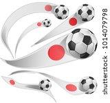 japan flag set with soccer ball ... | Shutterstock .eps vector #1014079798