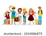 group of tourists cartoon... | Shutterstock .eps vector #1014086875