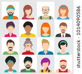 vector people avatar icons male ... | Shutterstock .eps vector #1014090586