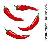 set of hot chilli pepper...   Shutterstock .eps vector #1014097942