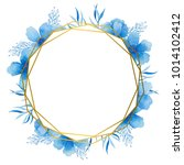 gold frame with blue watercolor ... | Shutterstock . vector #1014102412