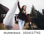 bride in a red plaid shirt...   Shutterstock . vector #1014117742