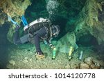 divers underwater caves diving... | Shutterstock . vector #1014120778