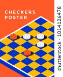 checkers game poster design.... | Shutterstock .eps vector #1014126478