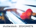 close up of the red heart on ... | Shutterstock . vector #1014144376