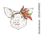 pig in an indian feather... | Shutterstock .eps vector #1014149692