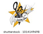 logo with sewing tools on a... | Shutterstock .eps vector #1014149698