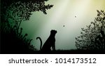 wild tiger or pantera in the... | Shutterstock .eps vector #1014173512