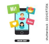 concept of online chat and... | Shutterstock .eps vector #1014197356