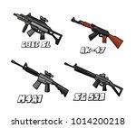 assault riffle weapon set... | Shutterstock .eps vector #1014200218