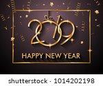 2019  happy new year... | Shutterstock . vector #1014202198