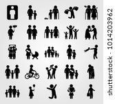humans vector icon set. jumping ... | Shutterstock .eps vector #1014203962