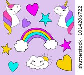hand drawn stickers with a... | Shutterstock .eps vector #1014206722