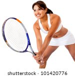 Woman playing tennis - isolated over a white background - stock photo