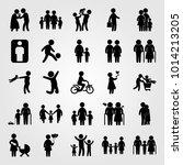 humans vector icon set. dad ... | Shutterstock .eps vector #1014213205