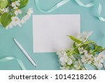 mockup white greeting card with ... | Shutterstock . vector #1014218206