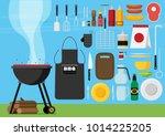 vector flat set of barbecue... | Shutterstock .eps vector #1014225205
