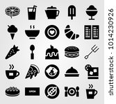 restaurant vector icon set.... | Shutterstock .eps vector #1014230926