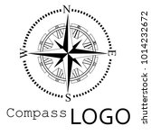 black and white compass logo.... | Shutterstock .eps vector #1014232672