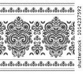 black and white floral seamless ... | Shutterstock .eps vector #1014237592