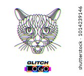 glitch effect panther logo.... | Shutterstock .eps vector #1014239146