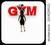 3d woman teach exersice to...   Shutterstock . vector #1014239512