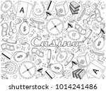 casino line art design vector... | Shutterstock .eps vector #1014241486