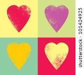 Retro Hearts In The Style Pop...