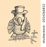 painted bird with hat and scarf ... | Shutterstock .eps vector #1014266812